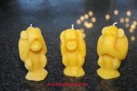 Zierkerzen Die 3 Affen 100% Bienenwachs Handarbeit