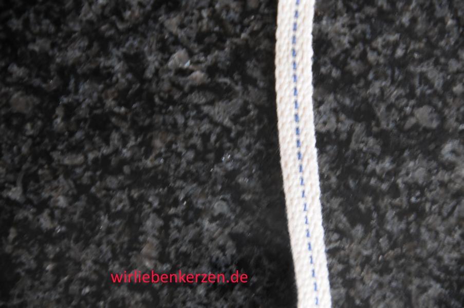Lampendocht aus 100% Baumwolle 8 mm Breite hart