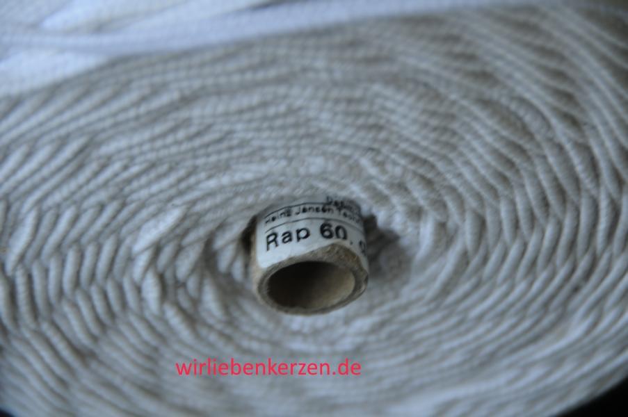 1 Meter Flachdocht Docht RAP 60 für Kerzen ca. 75 mm - 80+mm Durchmesser