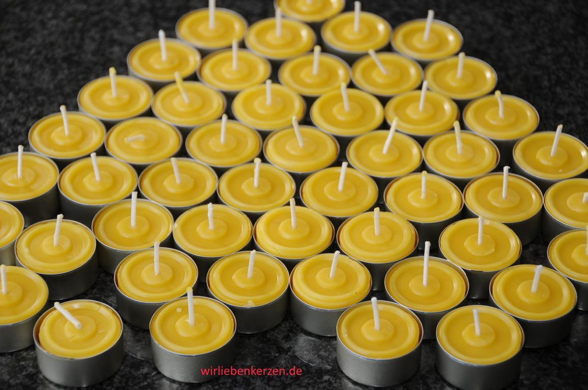 50 Teelichte 100% Bienenwachs goldfarbene Aluhüllen