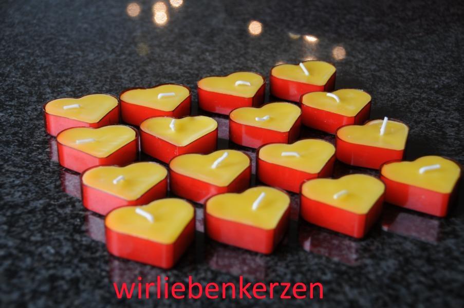Teelicht Herz in transparenter Kunststoffhülle Rot