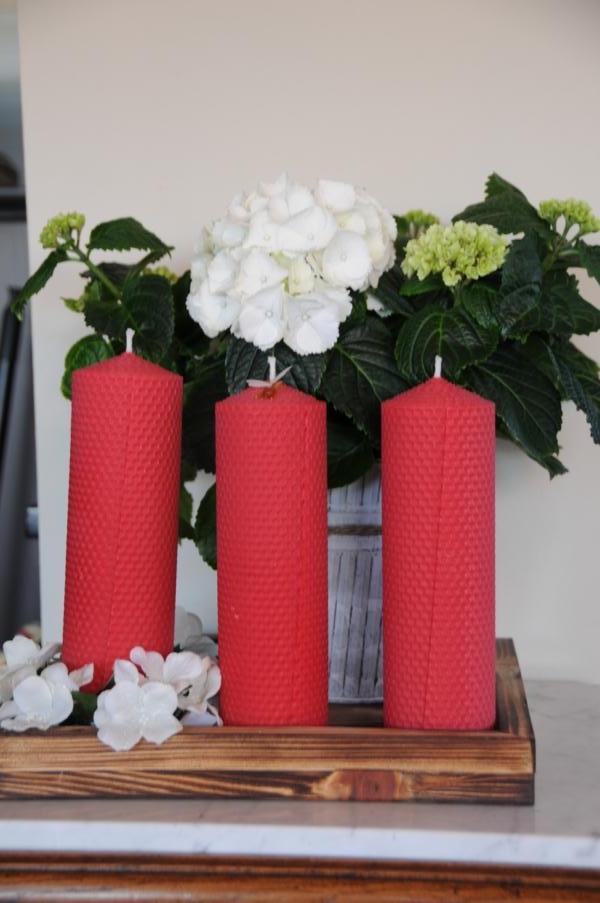 Rote Stumpenkerzen 210 x 65 mm 100% Bienenwachs Stückpreis