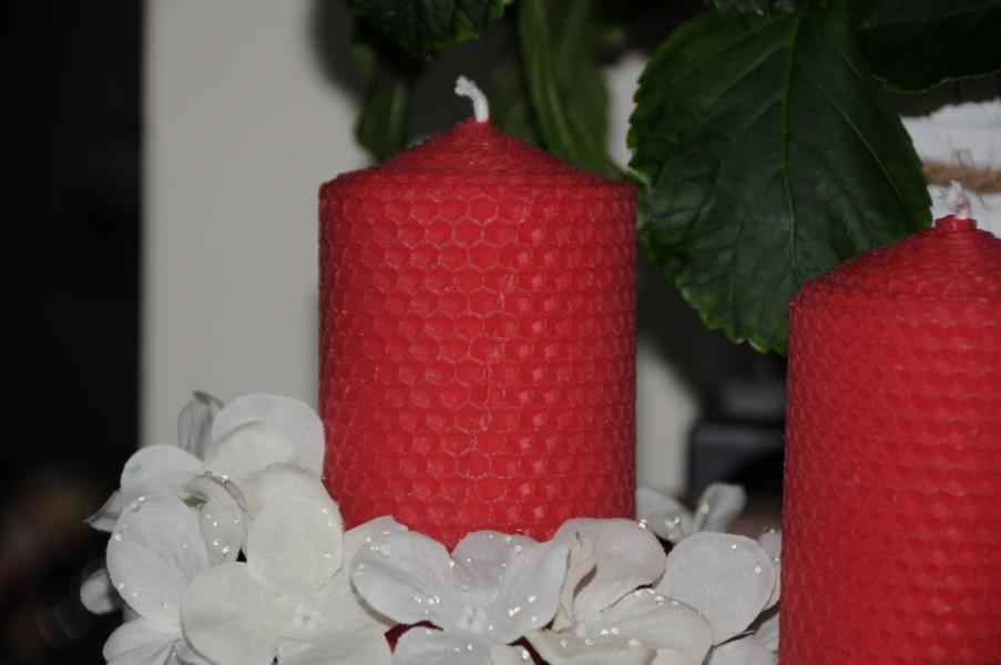 Rote Stumpenkerzen 115 x 65 mm 100% Bienenwachs Stückpreis