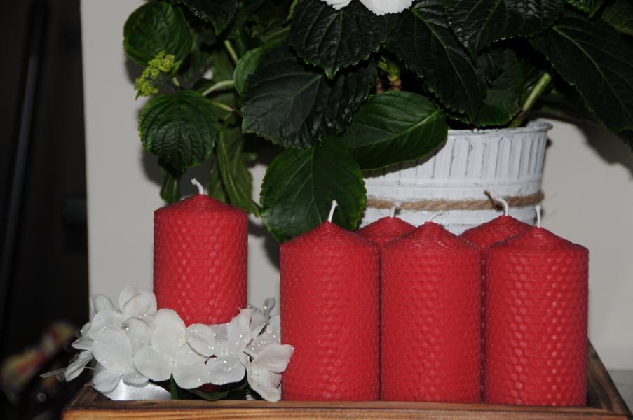 Rote Stumpenkerzen 110 x 56 mm 100% Bienenwachs Stückpreis
