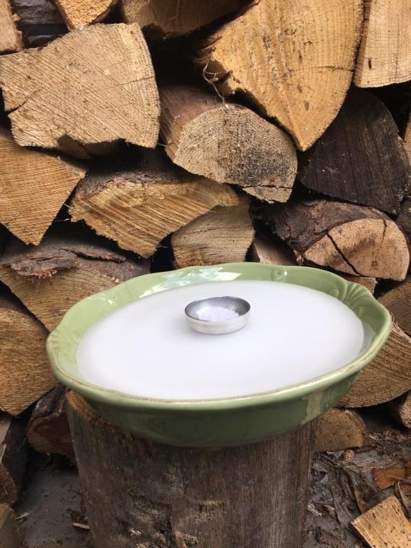 Großes grünes Schmelzlicht Retro ca. 1,6 kg