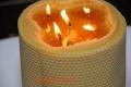 Eine riesige Stumpen Kerze 100% Bienenwachs mit 5 Dochten
